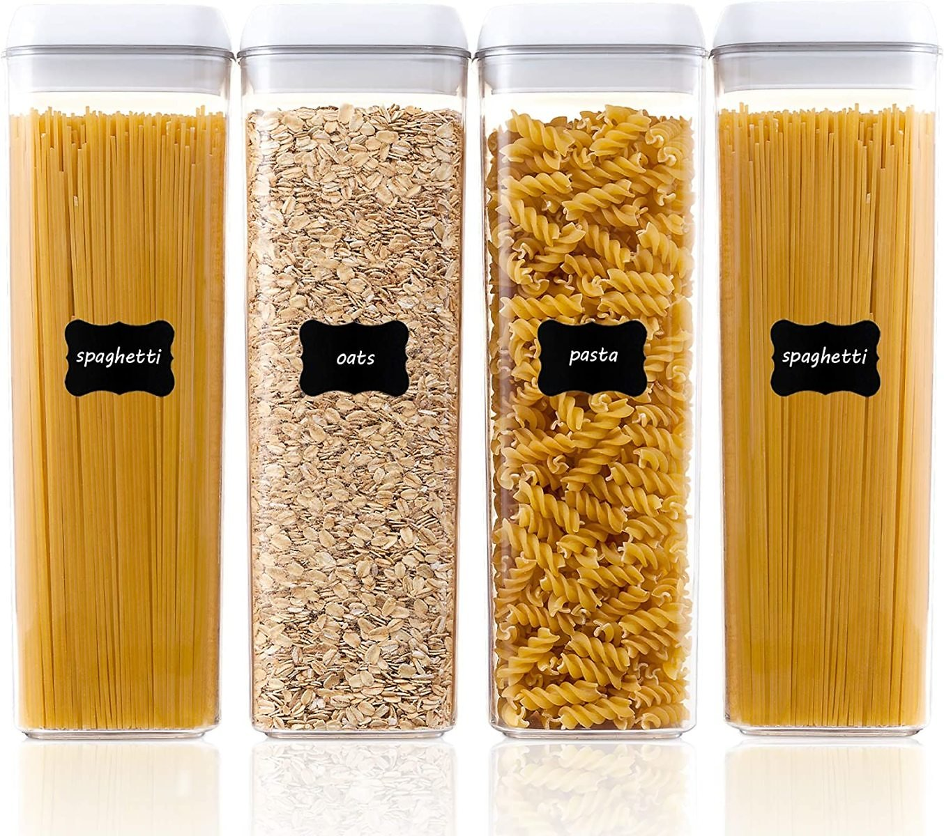 Airtight Food Storage Containers, Vtopmart 4 Pieces BPA Free Plastic Spaghetti Containers with Easy Lock Lids, for Kitchen Pantry Organization and Storage, Include 24 Labels