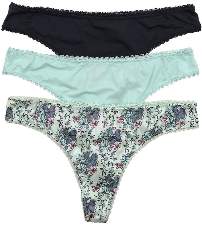 Felina Lace Trim Iridescent and Solid Micro Thong - Pack of 3