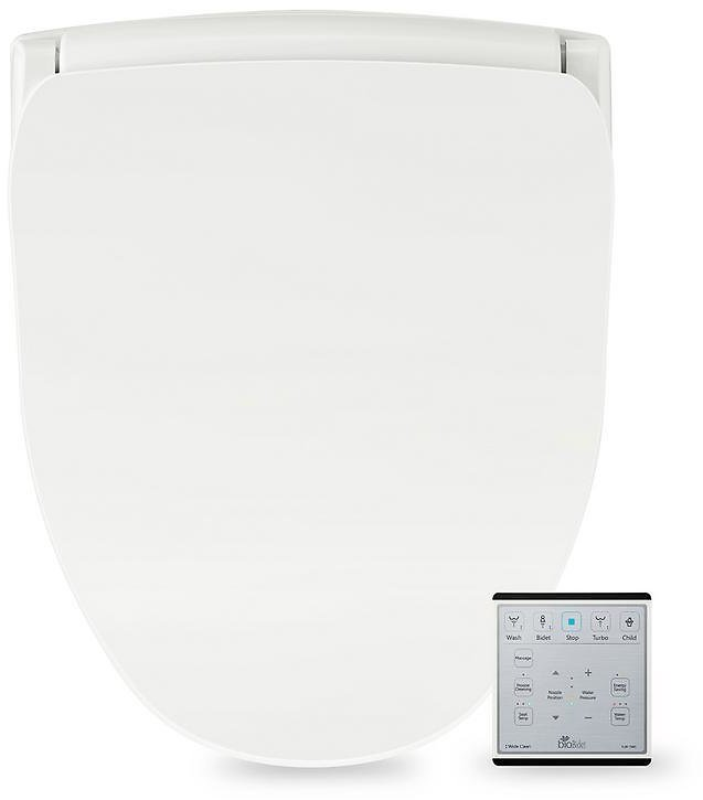 BioBidet Slim Series Electric Smart Bidet Toilet Seat for Elongated Toilets in White with Remote Control and Nightlight-SLIM TWO