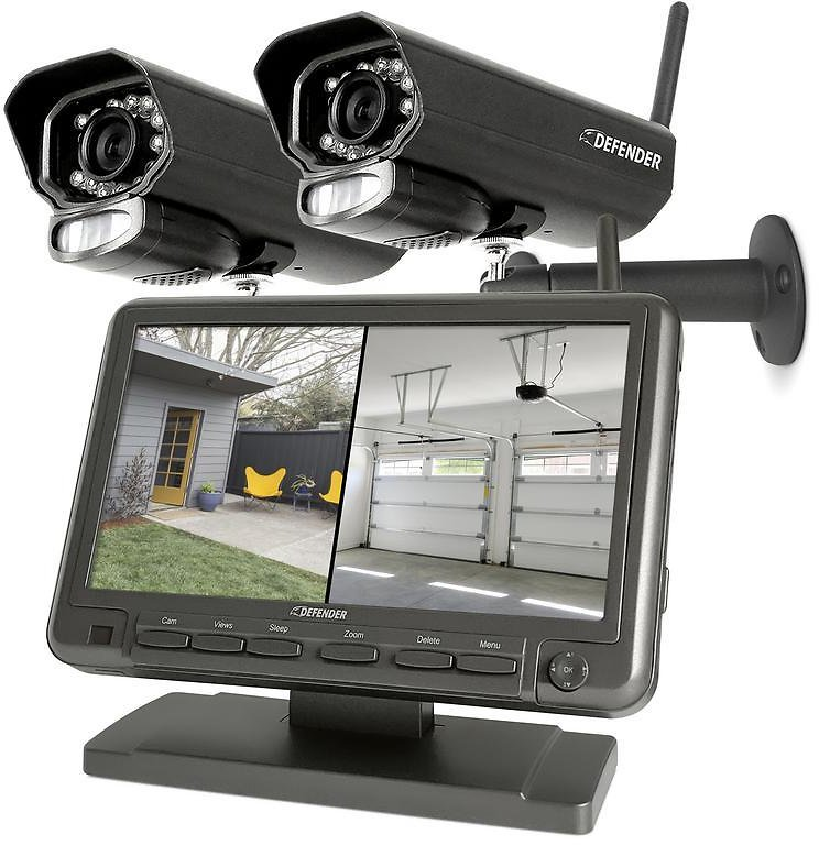 Defender PHOENIXM2 4 Channel Digital Wireless 7 In. Monitor DVR Security System with 2 Night Vision Cameras and SD Card Recording-PHOENIXM22C