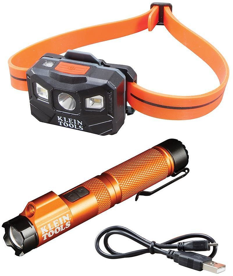 Klein Tools 2-Piece Rechargeable Focus Flashlight with Laser and Rechargeable Auto-Off Headlamp Tool Set-M2O41261KIT