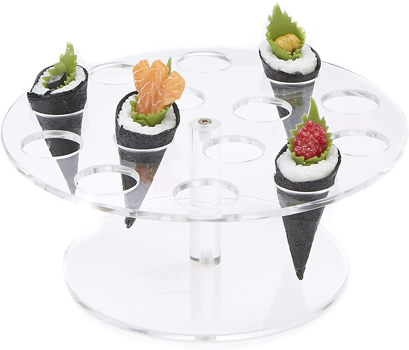 Mind Reader Acrylic Food, Ice Cream Cone Holder, Sushi Hand Roll Display Stand, 14 Slot Circle