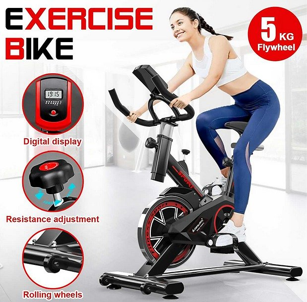 Exercise Bike with LCD Monitor Home Ultra-quiet Indoor Cycling Weight Loss Machine Fitness Gym Cardio Bicycle Fitness Equipment