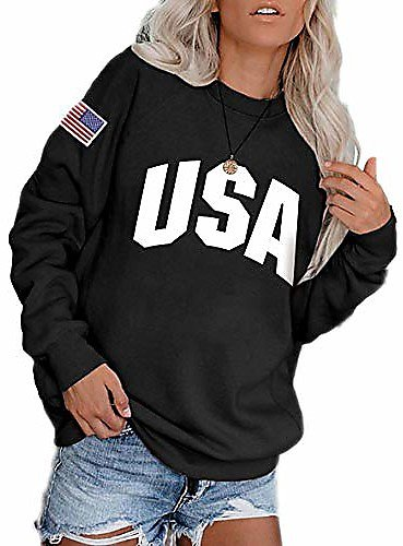 Sweatshirts for Women, Casual Loose Long Sleeve Usa Flag Print Pullover-black-l