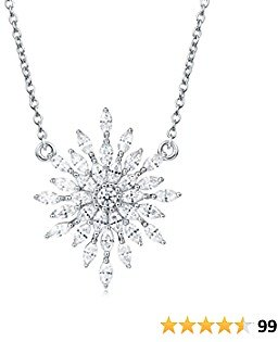 Carleen Sterling Silver Cubic Zirconia CZ Simulated Diamond Luxury Look Large Big Statement Snowflake Necklace Pendant Studs Earrings Jewelry For Women Girls Teens