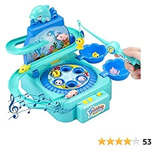 AT Magnetic Fishing Game Toy, Electronic Toy Fishing Set with Slideway & Rotating Board for Outdoor Indoor, Preschool Gifts for Years Old Toddler Kid Birthday Early Learning