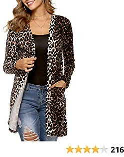 Kancystore Women's Leopard Printed Open Front Lightweight Button Down Cardigan with Pockets