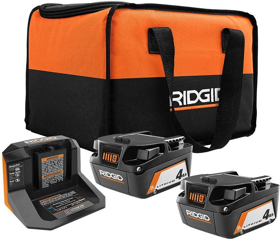 RIDGID 18-Volt Lithium-Ion (2) 4.0 Ah Battery Starter Kit with Charger and Bag-AC93044SBN