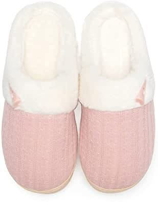 Amazon.com | NineCiFun Women's Slip On Fuzzy Slippers Memory Foam House Slippers Outdoor Indoor Warm Plush Bedroom Shoes Scuff with Fur Lining | Slippers