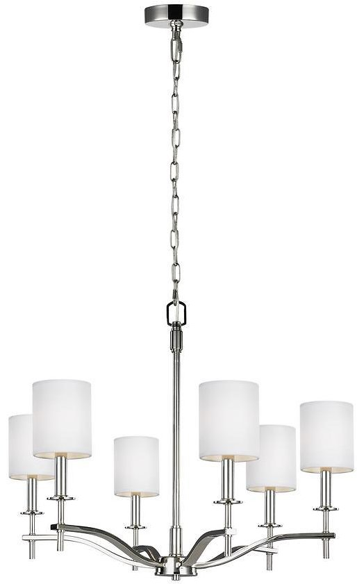 83% Off Sea Gull Lighting Hewitt 6-Light Polished Nickel Chandelier with White Lined Parchment Shades-F3311/6PN