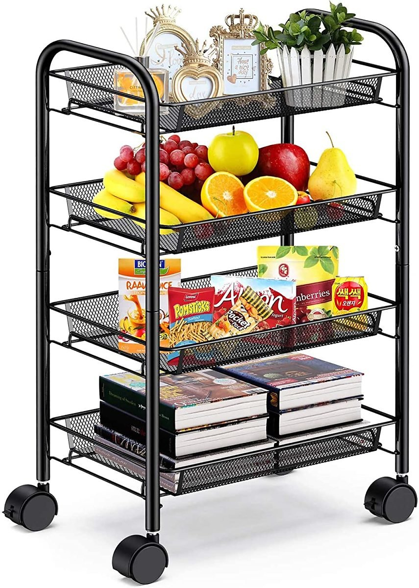 4-Tier Mesh Wire Rolling Cart Multifunction Utility Cart Metal Kitchen Storage Cart with 4 Wire Baskets Lockable Wheels for Home, Office, Kitchen By Pipishell (Black)