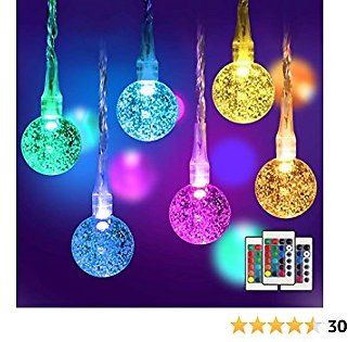 78FT Globe String Lights, Decorative Christmas Lights, Bubble Ball 120 LEDs, Indoor & Outdoor, Waterproof, Plug-in, 16-Color, Remote Control, for Wedding, Camping, Bedroom, Party, 2-Pack 39FT