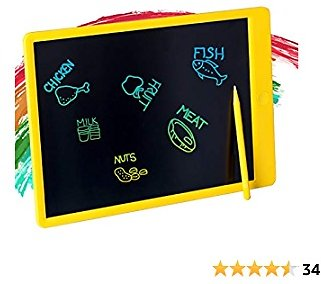 Tikooere LCD Writing Tablet Drawing Board for Kids, 13.5inch Colorful Screen Doodle Board, Traveling and Educational Learning Gift Toys for 2 3 4 5 6 Year Old Boys and Girls Yellow
