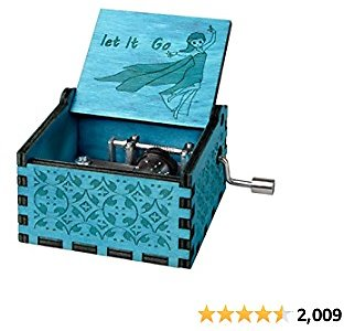 Fezlens Wood Music Boxes Frzon Antique Engraved Wooden Musical Box Gifts for Birthday/Valentine's Day/Christmas/Thanksgiving Days Hand-Operated Present Kid Toys (Blue)