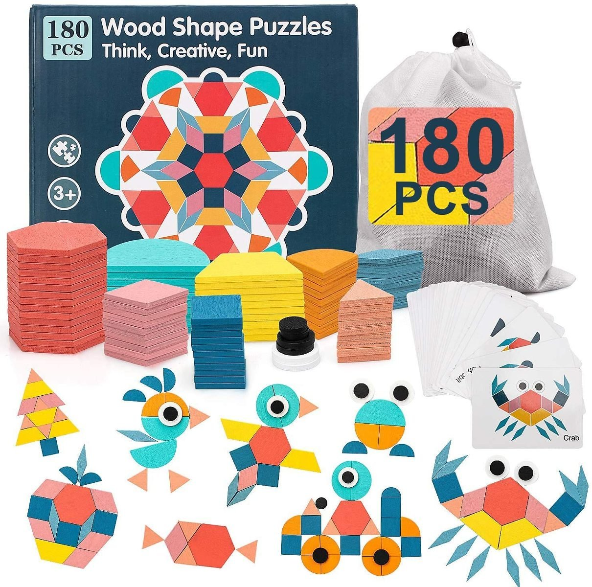 TOY Life 180Pcs Wooden Pattern Blocks for Kids Shape Puzzle Pattern Play Tangram Puzzles for Kids Ages 4-8 Geometric Shapes for Kids Preshool Kindergarten Montessori Toys with 24 Pcs Design Cards