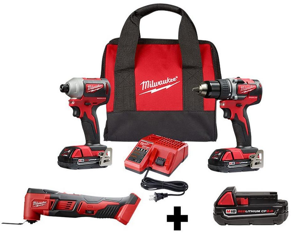 Milwaukee M18 18-Volt Lithium-Ion Brushless Cordless Drill/Impact/Oscillating Combo Kit (3-Tool)