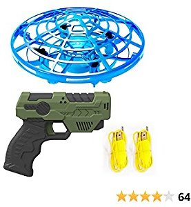 IOKUKI Hand Operated Mini Drones for Kids and Adults with Toy Gun Remote Control, Double Control Flying Ball with Easy Indoor and Outdoor RC Mini Drone for Boys and Girls (Blue)