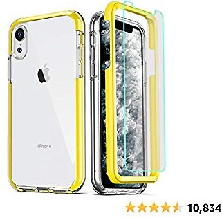 COOLQO Compatible for IPhone XR Case, with 2 X Tempered Glass Screen Protector Clear 360 Full Body Coverage Hard PC+Soft Silicone TPU 3in1 Heavy Duty Shockproof Defender Phone Protective Cover Yellow