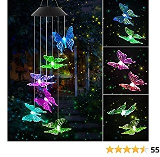 Jeopace Solar Wind Chimes,Butterfly Solar Wind Chimes,Color-Changing Outdoor Waterproof Solar LED Wind Chime for Home/Party/Yard/Garden Decoration,Gifts for Mom,Wife,Grandma,Christmas(Butterfly)