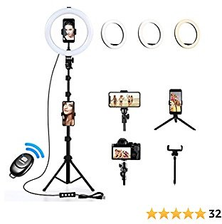 10 Inch Selfie Ring Light with Tripod Stand, 3 Color Lighting Mode, Adjustable Brightness, 360 Degree Rotation, Remote Photo Shot Control, for Live Streaming, Photo Shooting, Make Up
