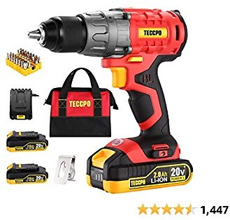 """Cordless Drill Set, 20V Brushless Drill Driver, 2x 2.0Ah Li-ion Batteries, 530 In-lbs Torque, 1/2"""" All-metal Chuck, 21+1 Torque Settings, 0-1500RPM Variable Speed, 33pcs Accessories with Case"""