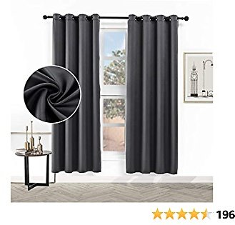 Hughapy Faux Silk Curtains Blackout Curtains for Bedroom Room Darkening Satin Drapes Thermal Insulated Privacy Window Curtains for Living Room, 2 Panels (52W X 63L, Grey)