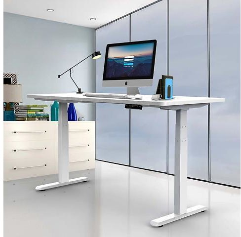 AIMEZO Electric Height Adjustable Desk Base Sit to Stand Up Desk Standing Workstation Smart Desk Home Office Standing Desk Frame with Dual Motor 3 Stage Up Lifting Legs - Only Frame - Newegg.com