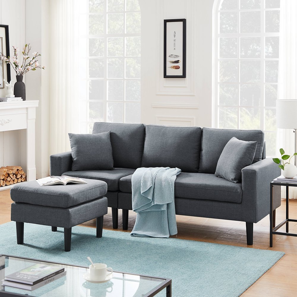 UHOMEPRO Convertible Sectional Sofa Couch, 77
