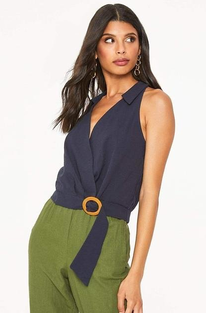 Collared Belted Wrap Top in Navy