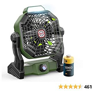 Outdoor Camping Fan with LED Lantern and Hook, Portable Fan Rechargeable, 10400mAh Battery Operated Powered Fan, Personal USB Desk Fan, Fan for Tent, Travel, Bedroom, Table, Home, Office