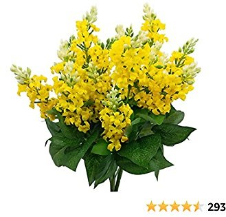 Guagb Artificial Fake Flowers Silk Plastic Plant Arrangement for Home Indoor Outdoor Garden Wedding Table Vase Decorations Faux Snapdragon Flower,3 Bouquets (Yellow)