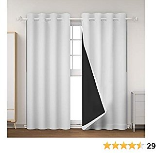 GRANDRE 100% Blackout Lined Curtains 2 Thick Layers Window Treatment 84 Inches Long- Grommet Top, Thermal Insulated Solid Drapes for Bedroom/Nursery (White, 52