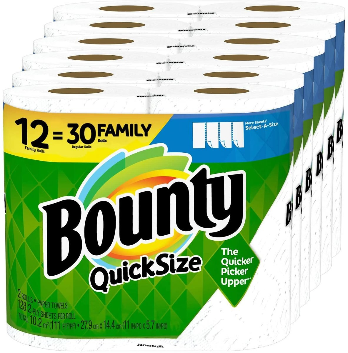 Bounty Quick-Size Paper Towels, White, 12 Family Rolls = 30 Regular Rolls (Packaging May Vary): Health & Personal Care