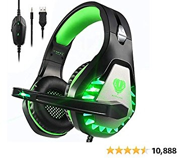 Pacrate Gaming Headset with Microphone for Laptop Xbox One Headset PS4 Headset Mac Nintendo Gaming Headphones with Microphone Noise Cancelling PC Headset with LED Lights for Adults Kids Black Green