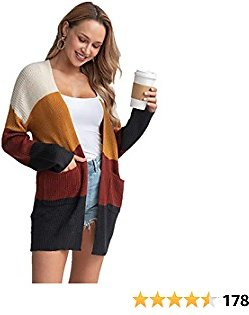 60 % O FF Womens Color Block Striped Cardigan with Pockets Long Sleeve Open Front Casual Lightweight Knit Sweater Coat