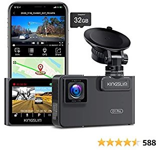 Kingslim D1 Pro Dual Dash Cam with Wi-Fi GPS, 2.5K/1080P Front and Cabin Dash Camera for Cars, Dual Sony Sensor with 340° FOV, Super Night Vision, G-Sensor, Loop Recording, 24Hr Monitor with 32GB Card