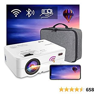 WiFi Bluetooth Projector - Artlii Enjoy 2 Mini Projector Support Full HD 1080P and 300'' Display,6000L Brightness,Keystone&Zoom,Wireless Outdoor Projector Compatible with TV Stick,PS4,iOS,Android