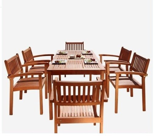 Malibu Outdoor 7-pc Wood Patio Dining Set W/Stacking Chairs