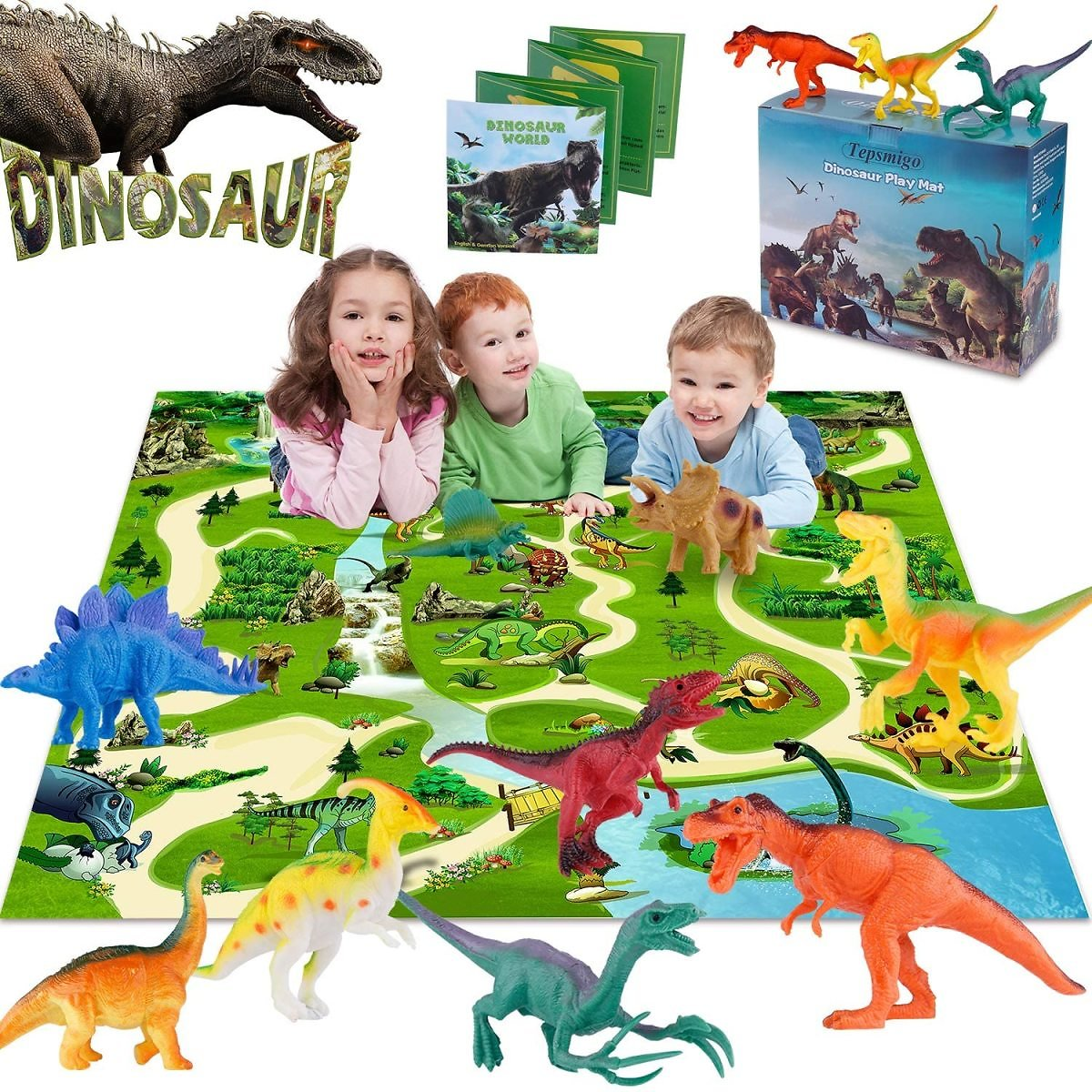 TEPSMIGO Action Dinosaur Toys w/ Large Play Mat