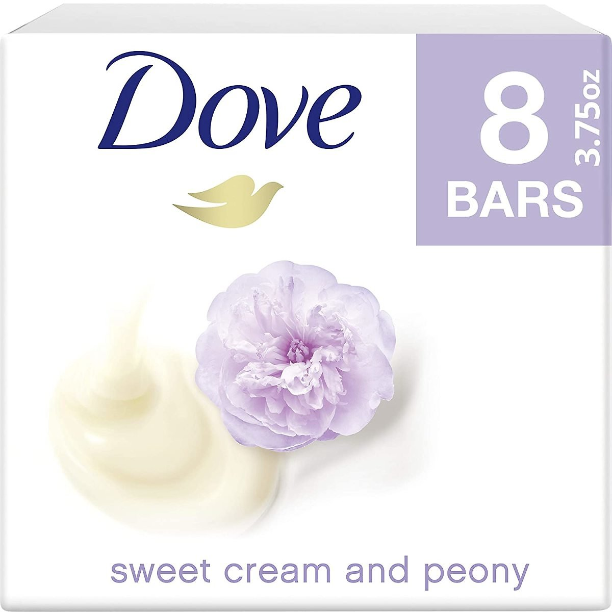 Dove Purely Pampering Beauty Bar Gentle Cleanser for Softer Skin Sweet Cream & Peony More Moisturizing Than Bar Soap 8 Bars