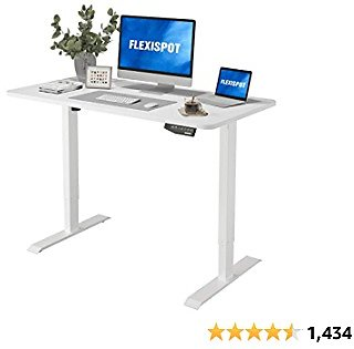 Flexispot Electric Stand Up Desk Workstation with 48 X 30 Inches Whole-Piece Desktop Ergonomic Memory Controller Adjustable Height Standing Desk (White Frame + 48