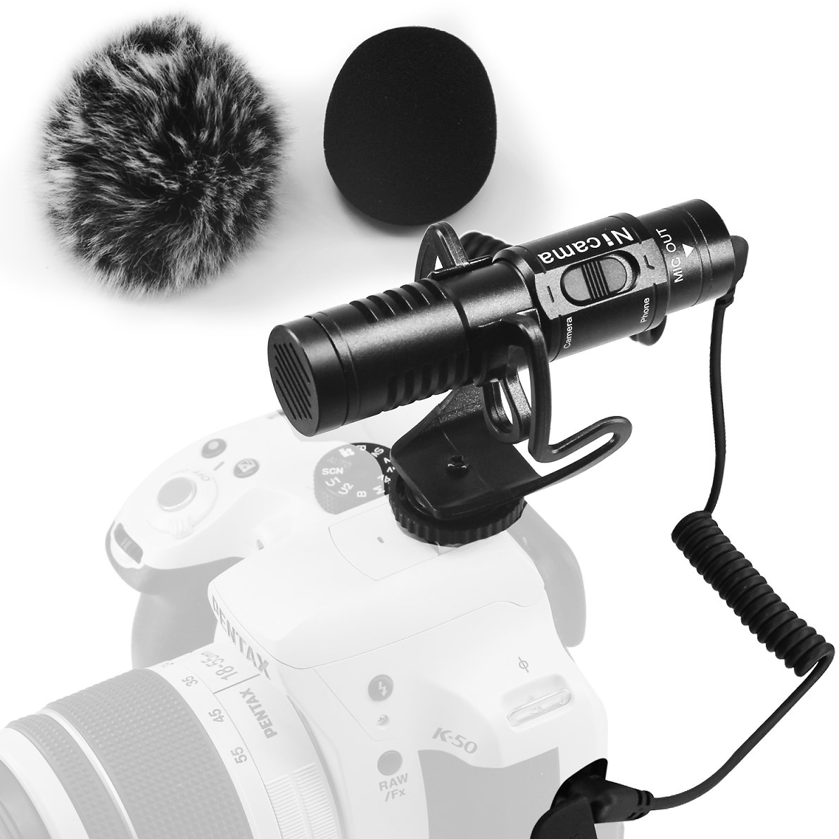 Nicama SGM8 Camera Shotgun Microphone, External Video Mic with Shock Mount 1 Windscreen Muff Compatible with IPhone Android Smartphones Vlogging Interview, DSLR Cameras Canon Nikon Sony Camcorders