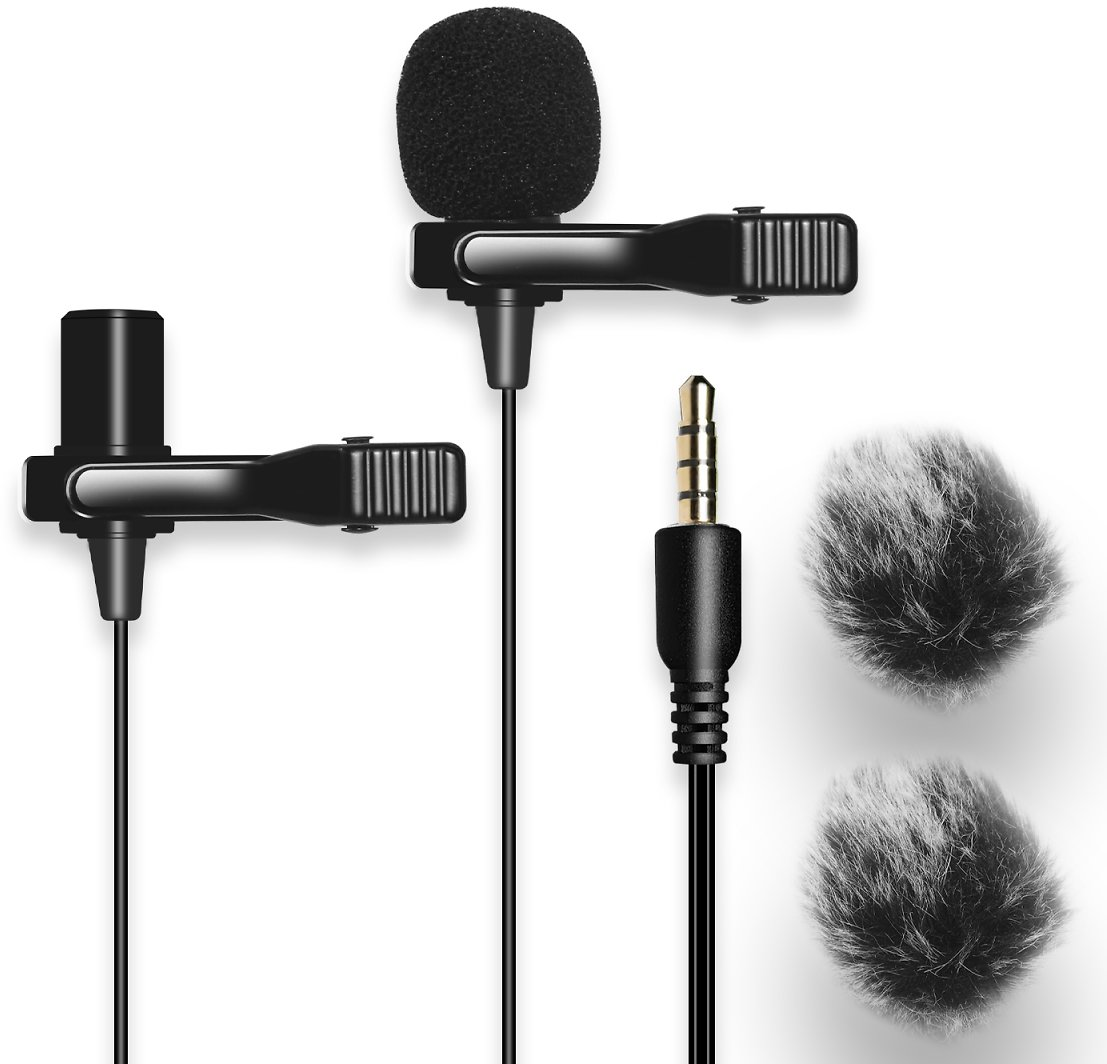 20FT Dual Headed Lavalier Microphone with 2 Windscreen Muffs,Nicama LVM2 Clip-on Lav Mic for DSLR Camera Audio Recorders IPhone, IPad, PC, Andriod Smartphones