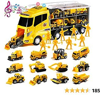 20 in 1 Die-cast Construction Truck with Realistic Engine Sounds and Flashing Headlights, Toy Car Play Vehicles in Carrier Truck with Engineering Worker Toy Set, Birthday Gifts for 3 Years Old Boy