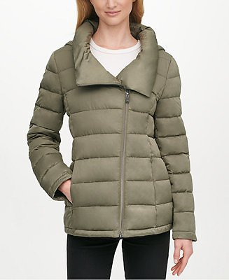 DKNY Asymmetrical Hooded Packable Puffer Coat (4 Colors)