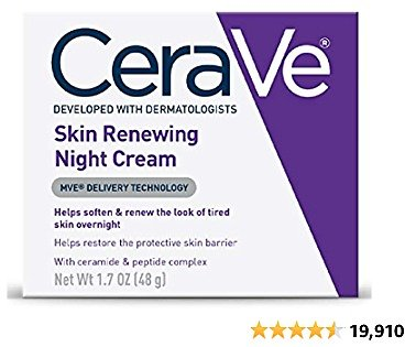 CeraVe Skin Renewing Night Cream   Niacinamide, Peptide Complex, and Hyaluronic Acid Moisturizer for Face   1.7 Ounce
