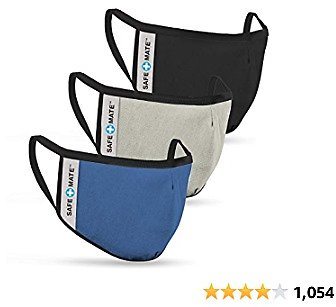 Safe+Mate X Case-Mate - Kids Face Mask (Ages 7-11) - Washable & Reusable - Cloth Face Mask - Cotton - with Filter - 3 Pack - Black/Blue/Gray (SM044727)