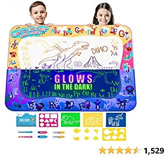 Kids Water Doodle Drawing Pad Mat Gift Toy Aqua Magic Board Set for Toddlers, Painting Coloring Writing Kit - Educational Tablet Toys for Girls Boys Age 3 - 12 Years, Mess Free Pens Markers