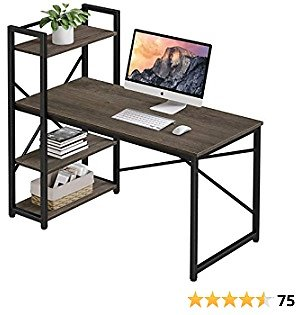 Homemaxs 47 Inches Computer Desk with 4 Tiers Adjustable Storage Shelves, Home Office Desks for Small Space, Workstation, Spacious Writing Table with Modern Simple Style for Students, Study, Drawing