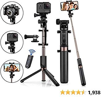 Selfie Stick Bluetooth, 4-in-1 Extendable Selfie Stick for iPhone12 11/Pro Max/XS/Max/XR/X/8/8P/7/7P/6S